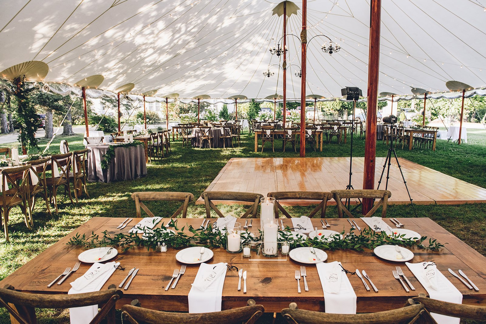 Aldworth Manor Wedding Venue Tent with Farmhouse Tables and Greenery