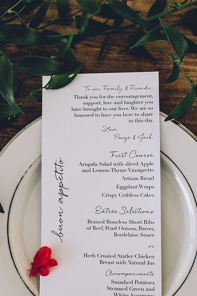 Wedding Catering Menu on Plate