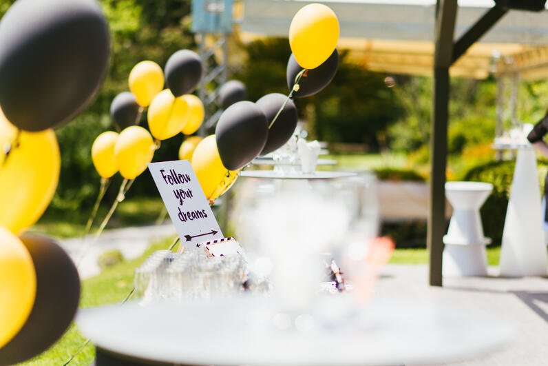 Outdoor Graduation Party With Balloons