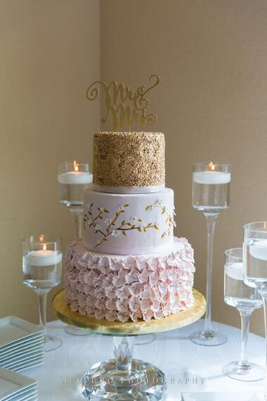 pink gold wedding cake