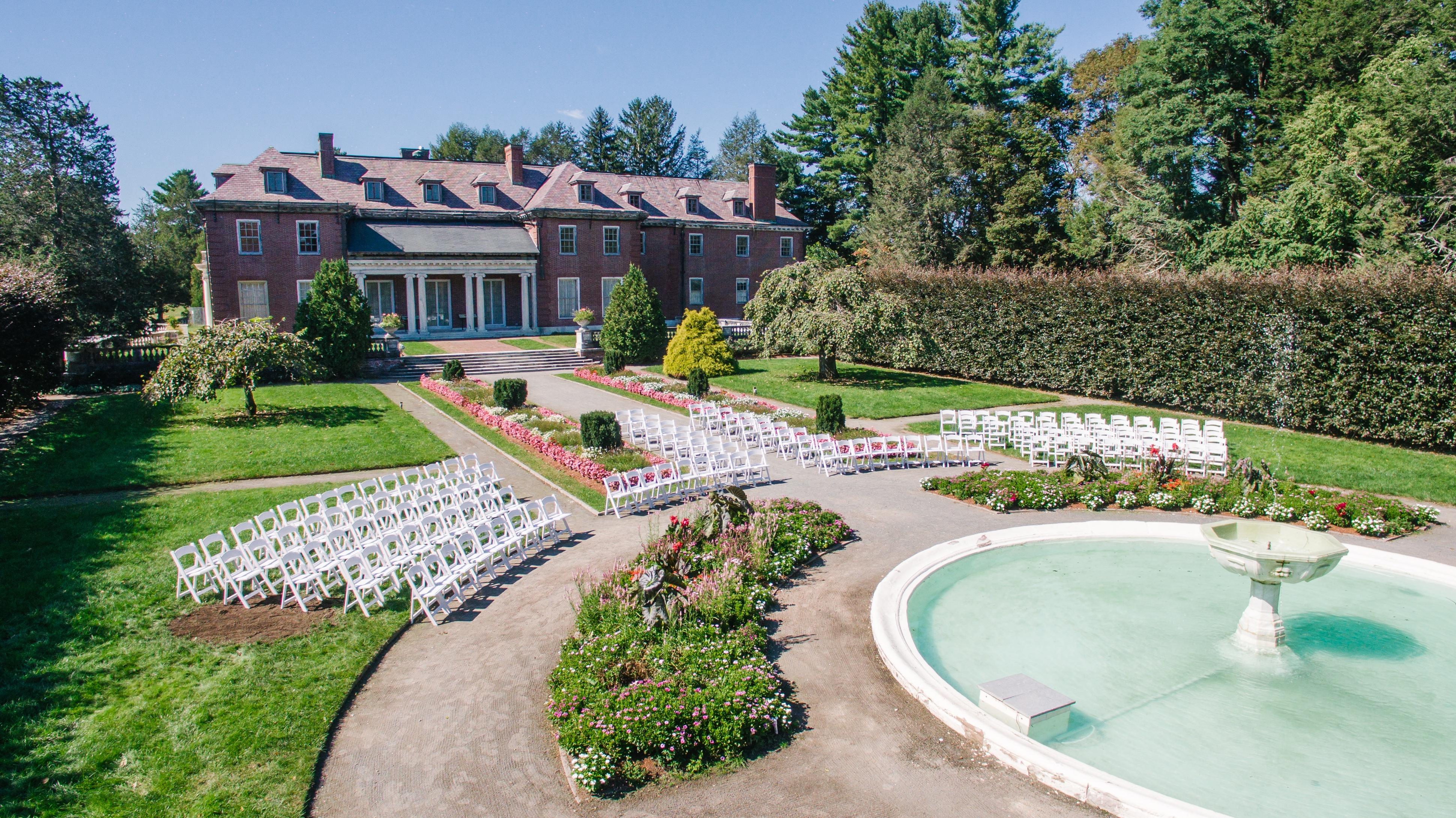 The gardens at Elm Bank Wedding